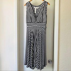 Max Studio Black and White Striped Swing Dress